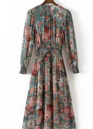 Шифоновое платье в цветочный принт6 фото