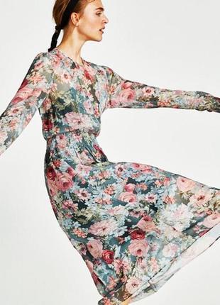 Шифоновое платье в цветочный принт7 фото