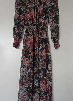 Шифоновое платье в цветочный принт8 фото