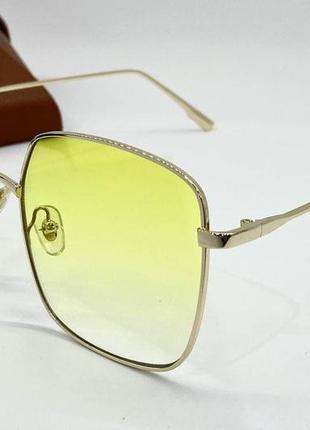 Очки женские солнцезащитные желтые металические квадраты с градиентом