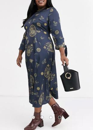 Чайное платье миди plus с завязками на рукавах с небесным принтом2 фото
