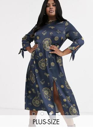 Чайное платье миди plus с завязками на рукавах с небесным принтом