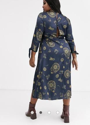 Чайное платье миди plus с завязками на рукавах с небесным принтом4 фото