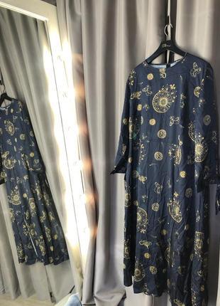 Чайное платье миди plus с завязками на рукавах с небесным принтом5 фото