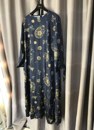 Чайное платье миди plus с завязками на рукавах с небесным принтом6 фото