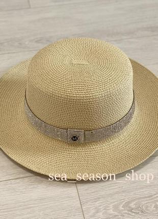 Женская пляжная шляпа со стразами, шляпка от солнца. жіночий капелюшок
