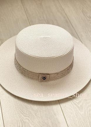 Белая пляжная шляпа, шляпка со стразами. жіночий пляжний капелюшок