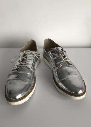 Броги, серебристые демисезонные легкие полуботиночки від esmara. серебристе взуття.