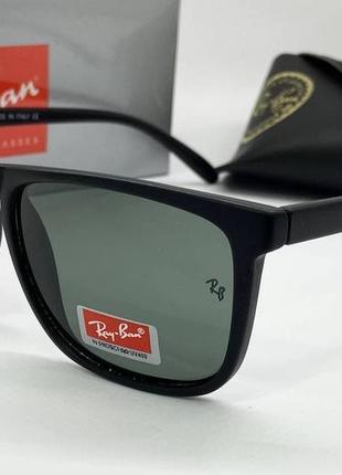 Ray ban очки женские солнцезащитные черная матовая классика с зелеными минеральными линзами