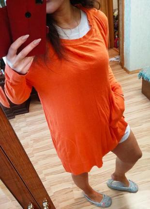 Стильная брендовая натуральная туника платье с карманами по бокам, размер 52-60