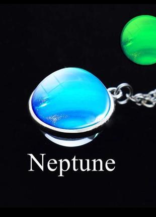 Кулон планета нептун светящийся 3d глобус вселенная галактика космос серебро подвеска