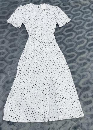 Белое платье в горох миди вискоза zara2 фото