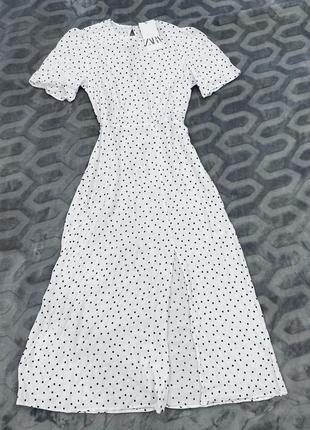 Белое платье в горох миди вискоза zara