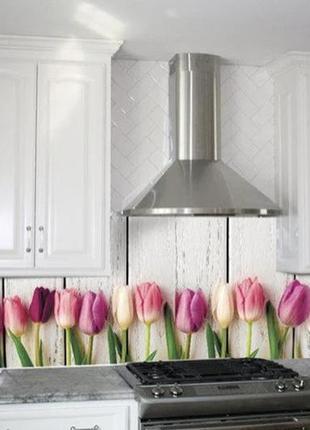 Наклейка кухонный фартук «тюльпаны»