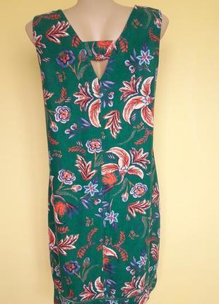 Красивое платье в цветочный принт ,лен,3 фото