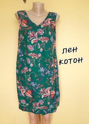 Красивое платье в цветочный принт ,лен,10 фото