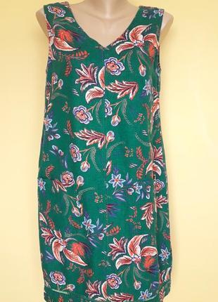 Красивое платье в цветочный принт ,лен,9 фото