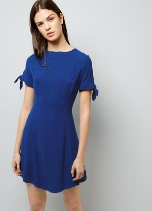 Акция! 1+1=3 новое синее платье с завязками на рукавах new look