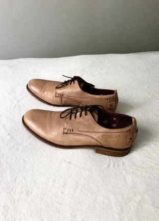 Кожаные туфли светлые бежевые шкіряні туфлі класичні 40/41