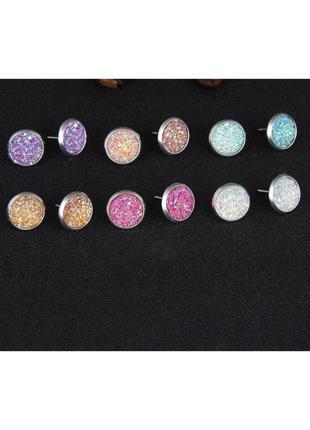 Набор, комплект сережек гвоздиков, сережки блискучі різнокольорові, разноцветные серьги.