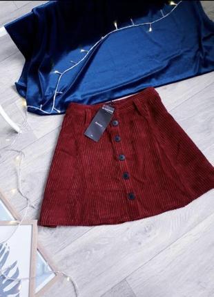 Міні-спідниця мини юбка вельветова bershka