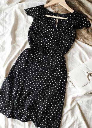 Дуже мила міні-сукня з пояском в горошок від f&f4 фото