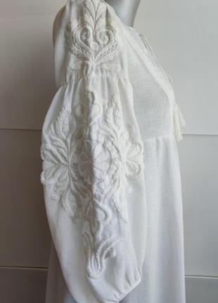 Платье миди zara белого цвета  с вышивкой.8 фото