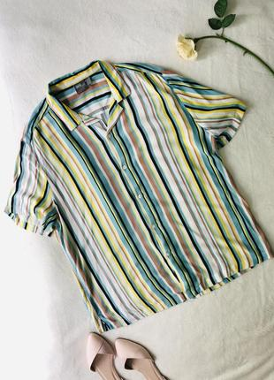 Рубашка в полосочку прямого кроя сорочка полосатая воздушная