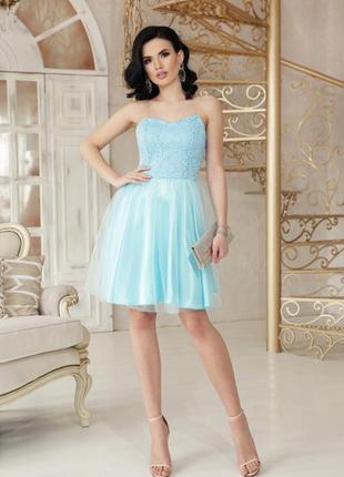 Вечернее голубое выпускное платье короткое сукня випускна вечірня коротка