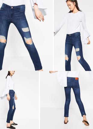 Zara jeans 👖 trafaluc джинсы зара с дырками синие