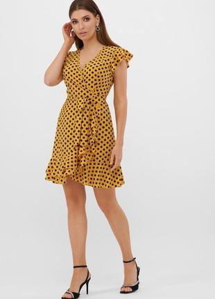 Короткое  платье в горошек с поясом сукня с рюшами в горошок коротка коротке плаття3 фото