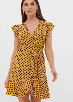 Короткое  платье в горошек с поясом сукня с рюшами в горошок коротка коротке плаття