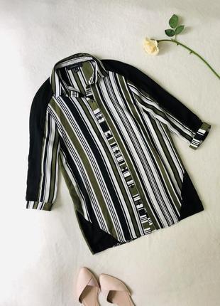 Сорочка стильная блуза полосатая рубашка белая хаки