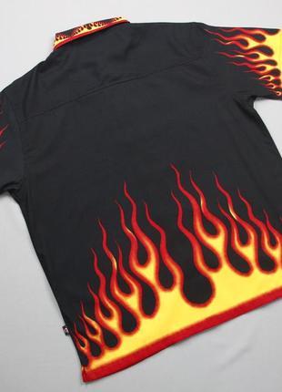 Рокабилли рубашка с языками пламени  duke jeans4 фото