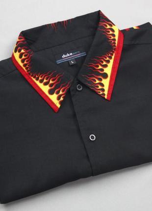 Рокабилли рубашка с языками пламени  duke jeans2 фото