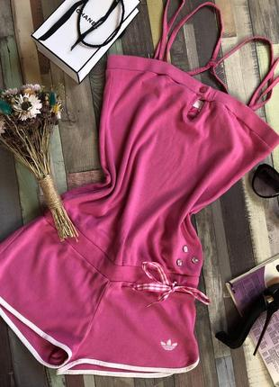 Розовый натуральный комбинезон adidas, ромпер, комбез