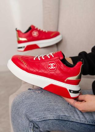 Женские кроссовки chanel sneakers leather red