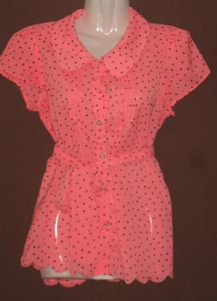 Блузка женская,  розовая, летняя, лёгкая, в чёрный горошек. 46 р-р