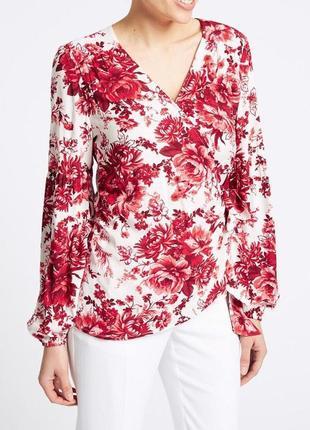 Блуза шикарная цветочная натуральная marks&spencer uk 14/42/xl