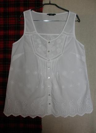 Тонкого хлопка блуза майка топ  этно бохо  f&f прошва ришелье