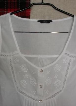 Тонкого хлопка блуза майка топ  этно бохо  f&f прошва ришелье2 фото