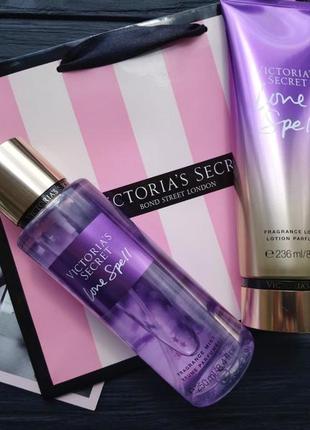 Набор косметики: мист + лосьон + пакет! love spell victoria's secret