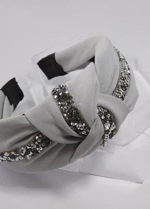 Обруч-чалма, колір сірий