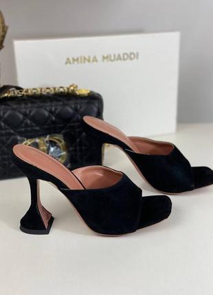 Шлепанцы женские кожаные замшевые замша черные кожаные брендовые на каблуке