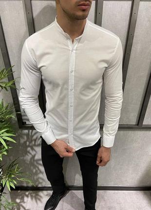 Рубашка белая мужская с коротким воротником