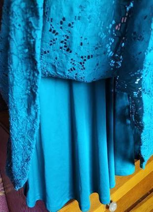 Бирюзовое кружевное платье с открытой спиной от river island4 фото