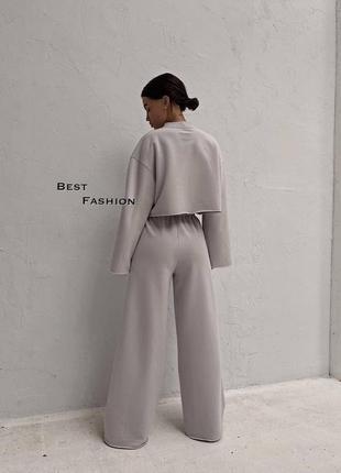Стильные комплекты base for you с ультрамодными широкими штанами клёш4 фото