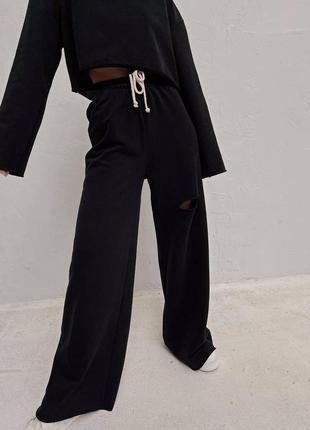 Стильные комплекты base for you с ультрамодными широкими штанами клёш7 фото