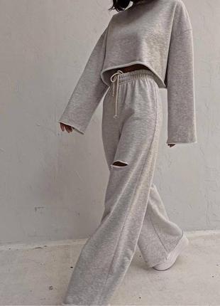 Стильные комплекты base for you с ультрамодными широкими штанами клёш5 фото