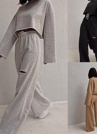 Стильные комплекты base for you с ультрамодными широкими штанами клёш